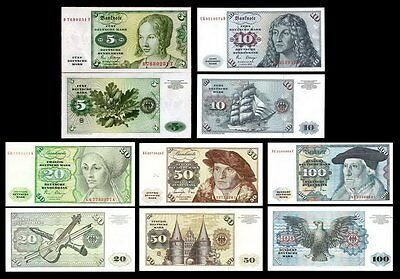 Germany FR 5, 10, 20, 50 and 100 Mark 1977-80