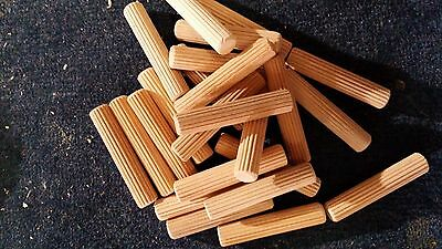 10MM x 50MM NATURAL WOOD DOWEL PINS, 200 PER PACK, NEW, FREE SHIPPING