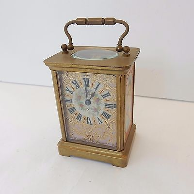 Antique French Hand Painted Sevres Porcelain Gilded Bronze Carriage Clock
