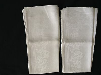 2 Lovely vtg DOUBLE DAMASK IRISH LINEN NAPKINS White ROSES 21.25x20.5""