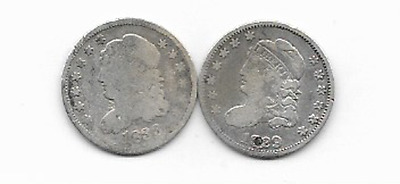 2, Silver Capped Bust Half. Dimes, 1829, & 1833