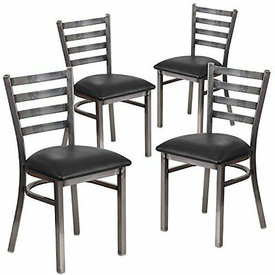 Flash Chairs Furniture Hercules Series Clear Coated Ladder Back Metal Restaurant