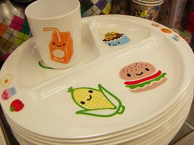 Paperchase Food Friends Sectional Divide Melamine Plate Cup Set Toddler Kid Cute