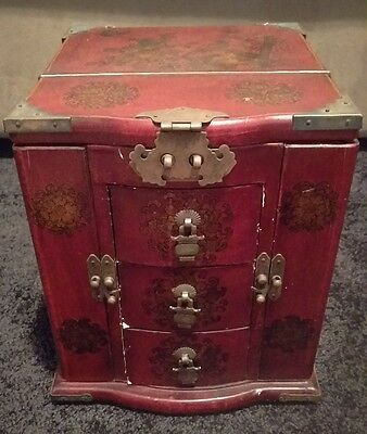 Hand Made Red Leather Chinese Two Door, Three Drawer Jewellery Box with Mirror