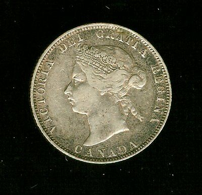 1874-H Canada 25 Cents  Quarter Sterling Silver Very Old Date                 E