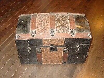 Small Antique Dome Top Steamer Stagecoach Trunk Wood Tin