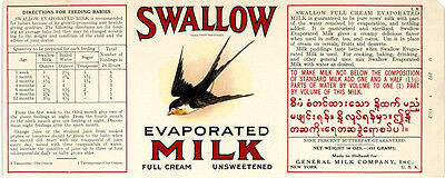 1920s Swallow Brand Evaporated Milk Can Label - General Milk Co. New York NY