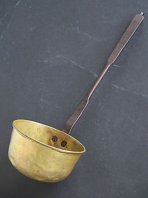 Antique Early 1800's Brass Ladle Dipper w/Riveted Hand Wrought Iron Handle