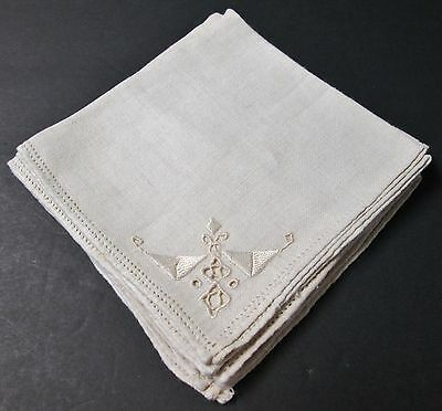 Antique Italian 4 Linen Cocktail Napkins Embroidery Cutwork Lace Trim