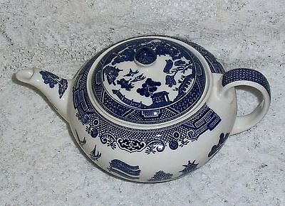 Burleigh Ware Vintage WILLOW BLUE TEAPOT & LID,  Excellent Condition