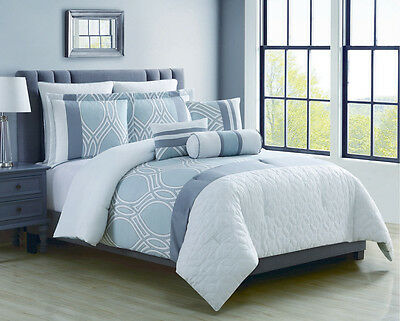 12 Piece Madlyn Ice Blue/White Bed in a Bag Set