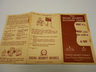 1950 US Government Social Security Card brochure America