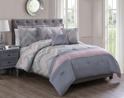 10 Piece Rosanne Jacquard Coral/Charcoal Bed in a Bag Set