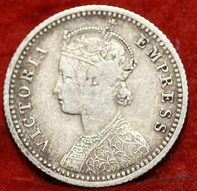 1897 India 1/4 Rupee Silver Foreign Coin Free S/H