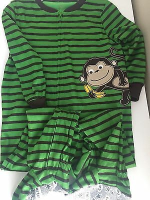 NWT Carter's Monkey Zip-Up Polyester Footed Pajamas 3T Boy Toddler New
