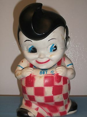 Vintage Bob'S Big Boy Vinyl Rubber Coin Bank Figure Advertising