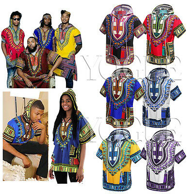 Mens Women African Dashiki Traditional T-Shirts Ethnic Tribal Boho Tops Hoodies