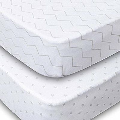 Playard Sheets 2 Pack Fitted Soft Jersey Cotton Playpen Sheet Bedding