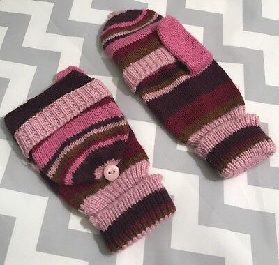 ⭐ MUDD ⭐ Teenage Girl's Pink & Purple Striped Open/Closed Adjustable Mittens
