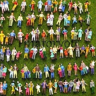 100pcs Mixed Painted Model Trains People Passengers Figures HO TT Scale 1:87