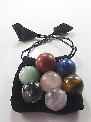 7-Piece Chakra Mini Sphere Set, Reiki Healing Energy. With carry bag!