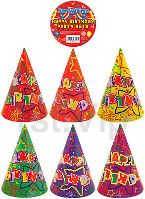 Pack of 10 Happy Birthday Party Paper Cone Hats Fun Game Stars Sun Kids UK