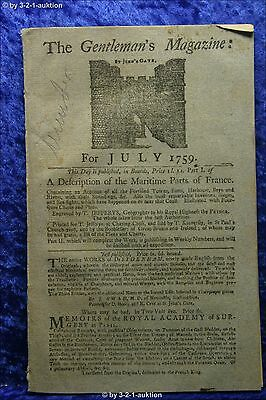 The Gentleman's Magazine July 1759 St. John's Gate