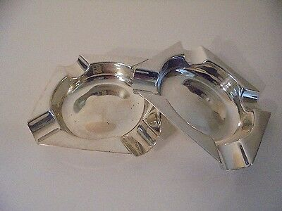 2 Solid Sterling Solid Silver Ash Trays , James Dixon & Son , 1963 & 1965 .