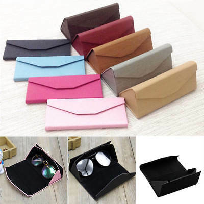 Foldable Triangular Magnetic Leather Case Glasses Eyeglass Sunglasses Portable