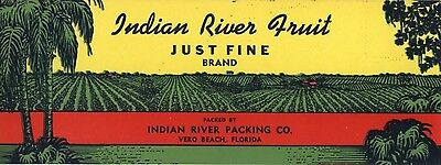 Crate Label Vintage Florida Indian River Just Fine Vero Beach 1940S Original