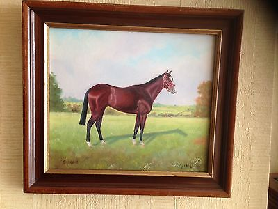 Original Oil Painting on Board of Shergar - Signed H. Pierpoint