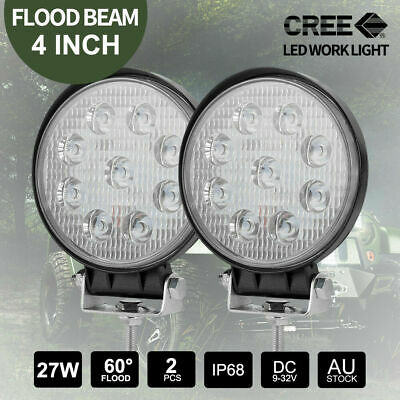 Pair 27W Round CREE FLOOD LED Work Light Off Road 4x4 Truck Boat 12V 24V