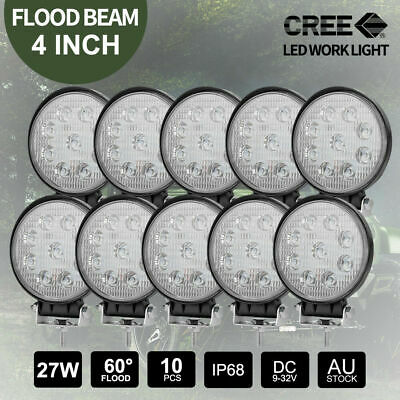 10x 27W CREE LED Work Lights Off Road 4x4 FLOOD Beam 12V24V Round Lamps