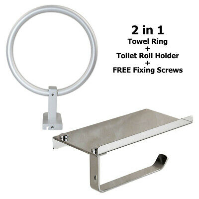 Silver 1Pc Metal Chrome Finish Towel Ring