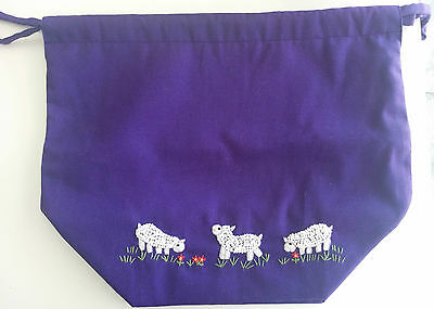 Lantern Moon Cotton Meadow Pouch for Knitting and Crochet Projects - Purple