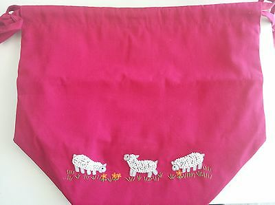 Lantern Moon Cotton Meadow Pouch for Knitting and Crochet Projects - Fuchsia
