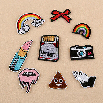 Embroidered Sew Iron on Patches Bag Lip Applique Dress Cloth Badge DIY Random