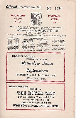 HOUNSLOW TOWN v LEYTONSTONE ~ AMATEUR CUP 1ST ROUND ~ 12 JANUARY 1957