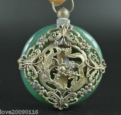 Decorated Wonderful Agate Armoured Vivid Dragon Phoenix Butterfly Lucky Pendant