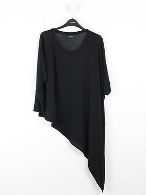 Bershka Womens Black Asymmetric Top Size L (Uk 14)