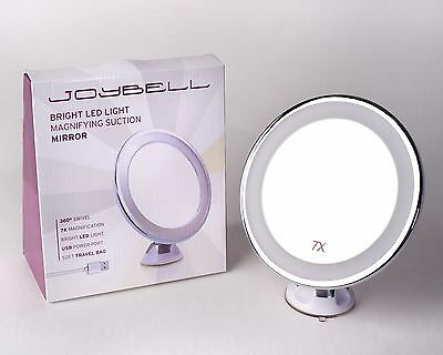 Joybell Suction Mounted Magnifying Make Up Mirror With Bright Led Lights & Usb