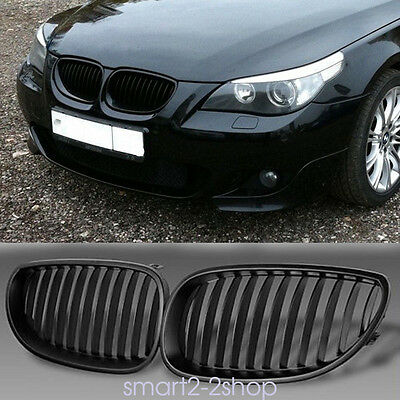For BMW E60 E61 5 M5 Series Saloon Touring Matte Black Kidney Sport Front Grill