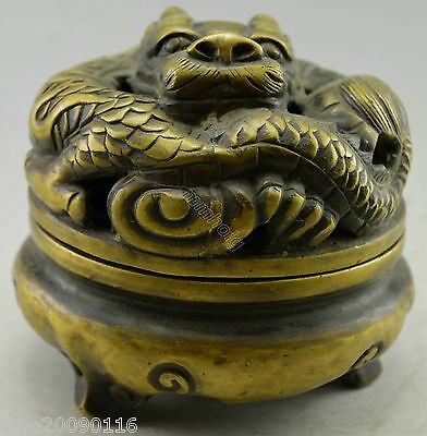 Collectible Decorated Old Handwork Copper Carved Dragon Noble Incense Burner