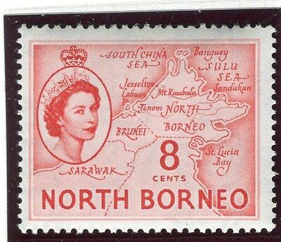 NORTH BORNEO;   1954 early QEII issue fine Mint MNH Unmounted 8c. value
