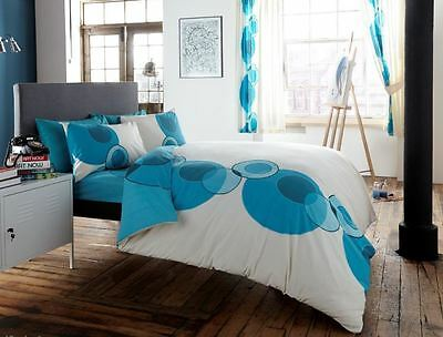 Modern Pleated Cotton Duvet Quilt Cover With Pillowcase Bedding Set - Teal