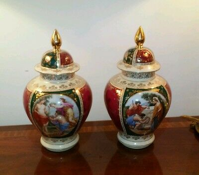 Pair Antique Royal Vienna Jars Large 20th Century Porcelain