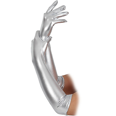 Adult Ladies Long Silver 44cm 1920's Flapper Style Fancy Dress Costume Gloves