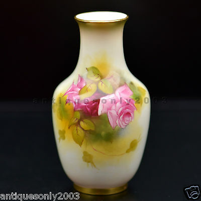 ROYAL WORCESTER Rose Hand Painted English Porcelain Vase E. Reavell SIGNED 1930s