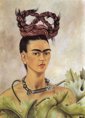 FRIDA KAHLO - Self Portrait With Braid - Canvas Print Poster 8X12""