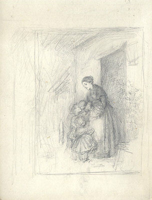 Joseph Clark - Late 19th Century Graphite Drawing, Mother and Children